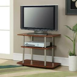 3-Tier Cherry Finish TV Stand W/ Open Shelves Home Media Ent