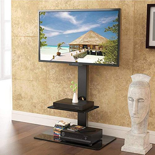 FITUEYES Universal tv Stand with Sony/Samsung/LG/Vizio Swivel TT207001MB