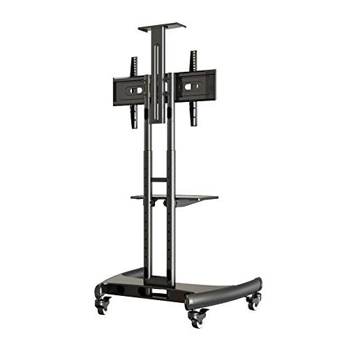Rocelco Mobile Stand, 32-70 Screen TVs, with and Webcam Black