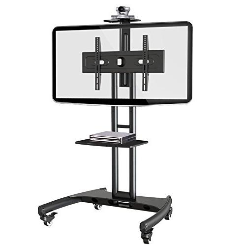 Rocelco VSTC Mobile 32-70 inch TVs, with and Webcam Shelf Black