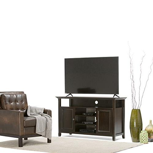 Simpli INT-AXCAMH-TV-DAB Solid Tall Media Stand in Brown For upto 60 inches