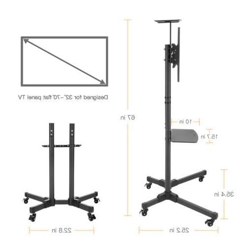 "32-70"" Adjustable Mobile Stand Screen Rolling TV Bracket"