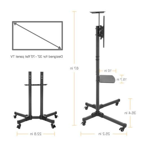 "Adjustable TV Stand Mobile Cart Mount Plasma 32- 65"" Home Office"