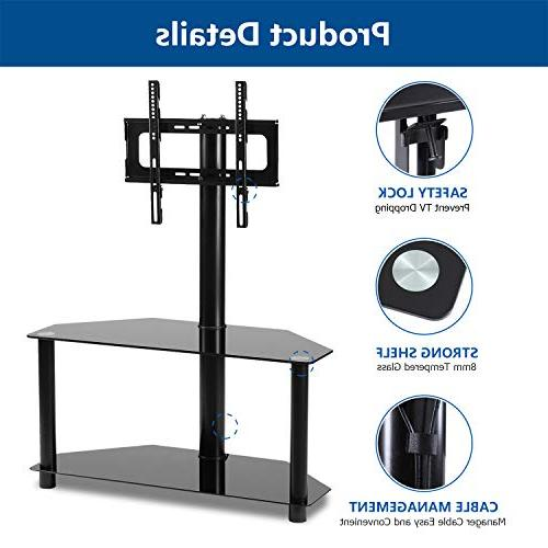Rfiver Black Corner TV Stand with Mount Bracket 37 42 55 Plasma LED or Screen 2-Tier Tempered Glass for Audio