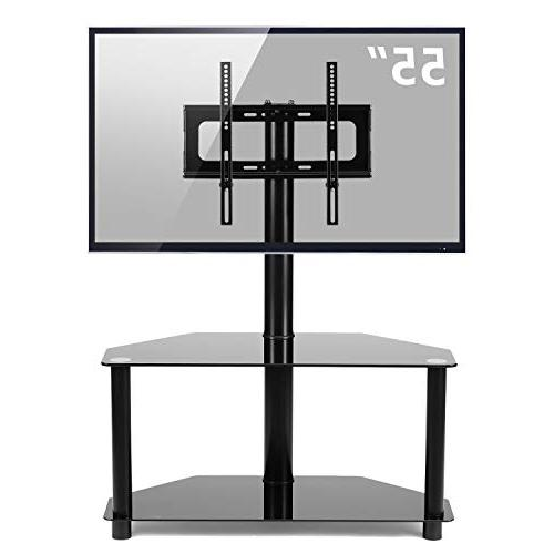 Rfiver Black Floor TV Stand with Mount 37 47 55 inches Plasma LED Flat or Curved Screen 2-Tier Glass Shelves for Audio Video,