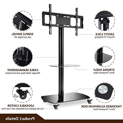Rfiver Stand with Wheels Glass for 42 50 60 65 Curved TVs, TF8001