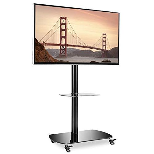 Rfiver Stand TV Cart with Swivel Wheels for Most 32 37 42 47 50 55 60 Flat Curved Screen TF8001
