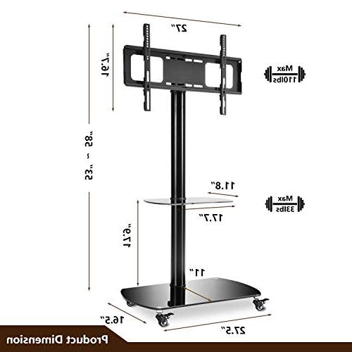 Rfiver Rolling Stand Mobile Cart with Swivel Wheels for Most 32 37 42 47 60 65 Curved TF8001