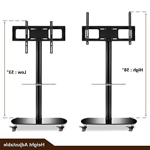 Rfiver TV Stand TV with Universal Swivel Wheels and Glass for 60 TF8001