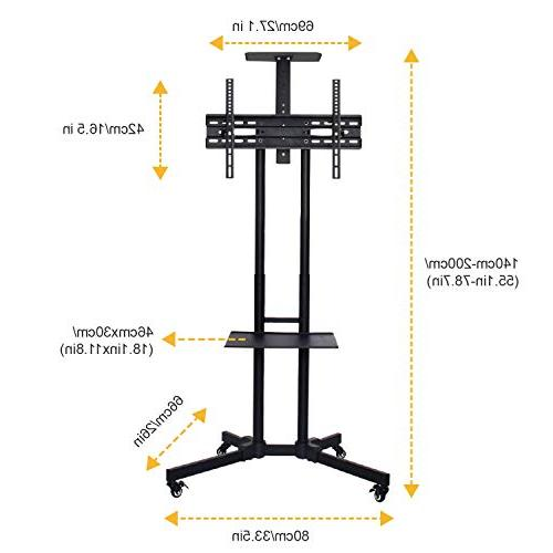 ABCCANOPY TV Rolling Mount Stand and Shelf 32-65 LED LCD OLED Screen, TVs Monitors
