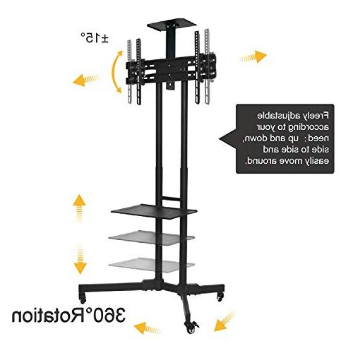 ABCCANOPY Black TV Cart Rolling Trolley Stand and Shelf for LED Screen, Monitors