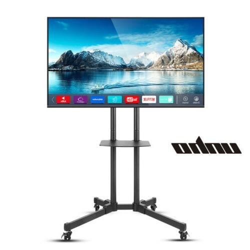 Mobile TV Cart Rolling Flat Screens Top Shelf