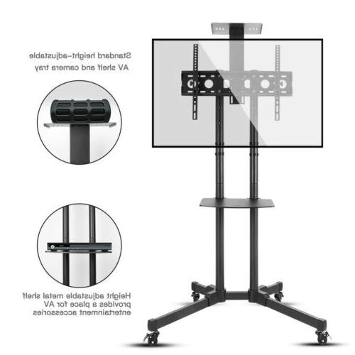 Mobile TV Cart Stand Rolling LCD Flat Screens Adjustable AV Top