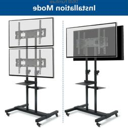 Mobile Dual TV Stand with wheels for 32-70 inch LCD LED OLED
