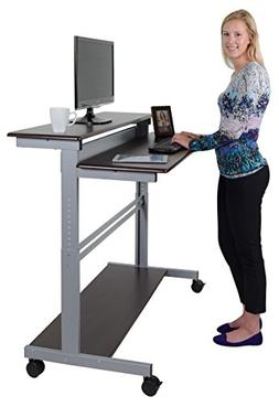"48"" Shelves Mobile Ergonomic Stand Up Desk Computer Workstat"