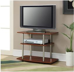 TV Stand 3 Tier Shelf Holds TVs Up To 32 Inches, Color Cherr